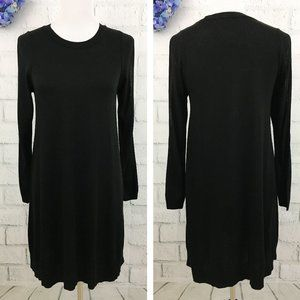 ASOS Black Cold Shoulder Sweater Dress Scoop Neck
